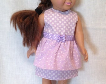 """18"""" Doll Summer Dress: Layered cotton dress for the American Girl and Maplelea doll"""