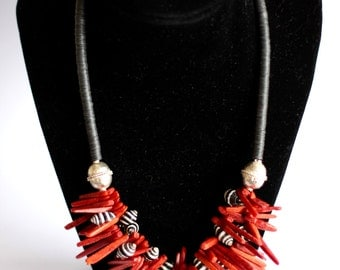 NYASIA: Shell coral necklace, striped shell, African beads, red coral sticks, Ethiopian prayer beads, silver ethnic, black white jewelry