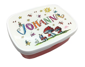 Lunch box with name, mushrooms, Red