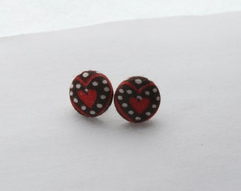 Red Heart Button Earrings / Vintage Brown and Red Fabric Button Earrings
