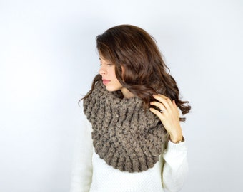 Oversized Chunky Knit Cowl Hood Scarf // The OUTLANDER // Barley
