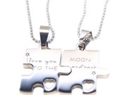 Custom Puzzle Piece Necklace Set - Puzzle Piece Necklaces - Engraved Puzzle Couples Gift Set - Bridesmaids -  Couples Jewelry