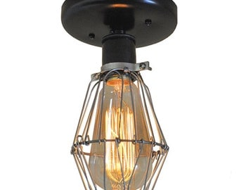 Industrial Ceiling Light - Sconce Lighting, Wire Cage Lighting, Wall Mount Lighting, Edison Bulb Lighting