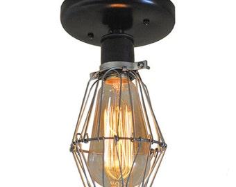 Industrial Ceiling Light - Sconce Lighting, Wire Cage Lighting, Wall Mount Lighting, Edison Bulb Lighting