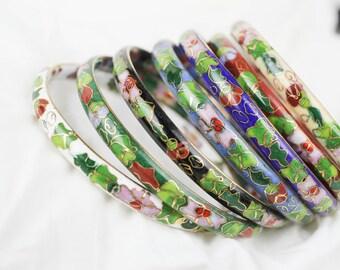 Vintage Authentic Cloisonne  Set Of 7 Bangle Bracelets