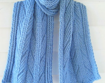 warm scarf, blue wool scarf, cable knit scarf, handknit wool, Warm woolen, alpaca wool scarf, light blue scarf, thick cable scarf