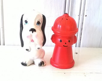Dalmation and Fire Hydrant Salt and Pepper Shakers Kitsch 1950s Ceramic Glazed Pottery Knick Knack Firehouse Home Decor