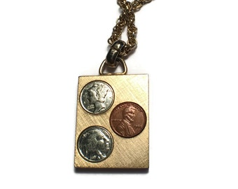 Money Necklace, Coin Jewelry, Reproduction, Penny, Nickle, Dime, Miniature,