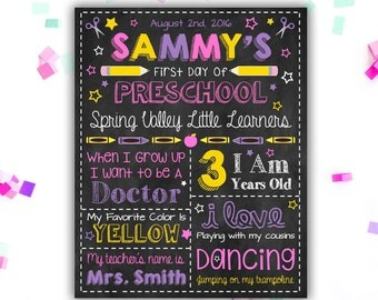 First Day of School - Back to School Sign - Poster - Chalkboard Sign - Digital File - Printable - Personalized - First Day of Preschool Girl