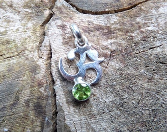 Silver Om and Peridot Pendant
