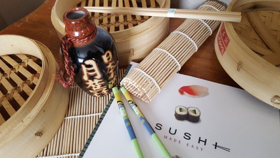 Asian inspired gift set with bamboo steamer ceramic printed for Japanese inspired gifts