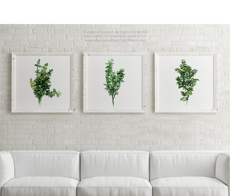 Thyme Kitchen Painting Green Leaves Watercolor Kitchen