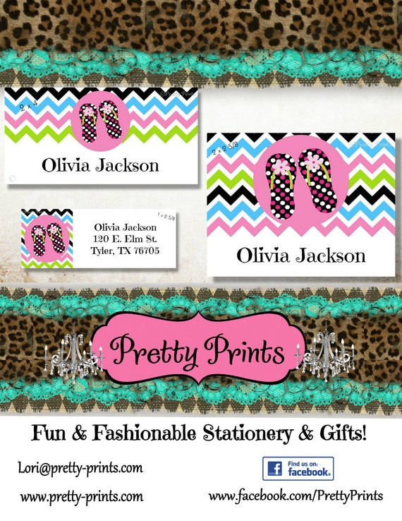 Flip Flop Stickers, School Labels, Back to School, Flip Flops, Personalized Stickers, Personalized Labels, Chevron Labels, Tags