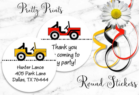Jeep Stickers - Jeep Labels - Personalized Round Labels - Custom Labels, Personalized Labels - School Stickers - Boy Labels