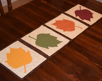 Quilted Table Runner Fall Autumn Leaves Table Runner Brown Red Orange Yellow Green