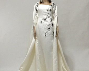 Reserved for Avery -- Haute Couture Ivory Cape Dress