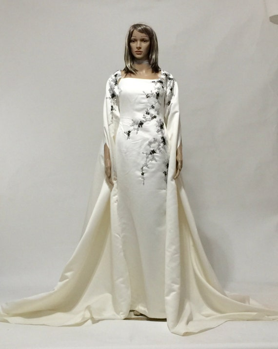 Haute couture ivory cape dress for Haute couture seamstress