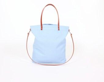 "Canvas bag ""Greta"" light blue / / light blue white striped with leather handles"