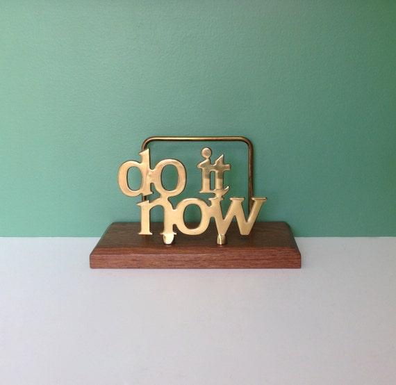 Vintage do it now brass letter holder mid century desk for Vintage letter holder desk