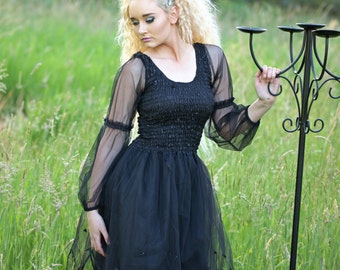 Adult Black Fairy  Dress ~ Halloween Costume ~ Plus Size ~Medieval ~ Gothic ~ Steampunk ~ BoHo ~ Day of the Dead