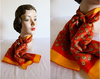 Silk Scarf · Paisley Orange Red · 1950s Vintage