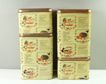 Cheinco Canister Set of Four: Tea, Coffee, Sugar and Flour - Cheinco Yellow canister, recipes printed made in USA