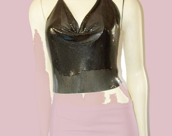 Vintage Shelli Segal Laundry Chainmail Cowl Neck Halter Top
