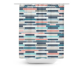 navy coral shower curtain.  Navy shower curtain Etsy