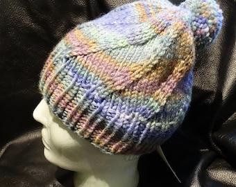 Handknitted Winter Hat 100% Hand Dyed Merino Wool Blend OOAK Rainbow Color
