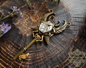 Steampunk Key Necklace scarab Charm,Gears jewelry,Bronze key,Watch Charm,Skeleton key steampunk,Fantasy pendant,Winged pendant,Gears jewelry