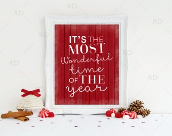 It's the most wonderful time of the year - PRINTABLE Wall Art / Christmas Song Lyrics Are / Christmas Wall Art / Christmas Printable / Xmas