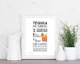 Tequila Sunrise Cocktail - PRINTABLE Wall Art / Cocktail Recipe Wall Art / Mixed Drink with Recipes Printable Wall Art / Cocktail Wall Art