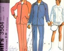 Vintage Men's Jog Suit, Track Suit, Tennis Racket Cover Pattern / McCall's 3504 / Size Medium Chest 38-40 / UNCUT