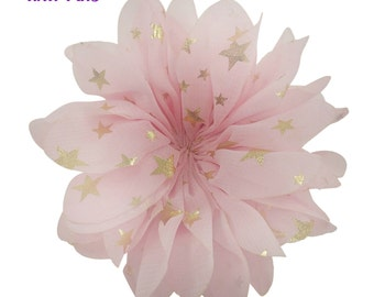 "3.5"" Pink gold stars flower - Fabric flower - Pink flowers"