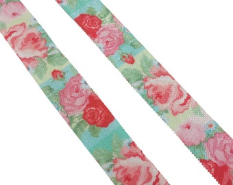Fold over elastic - Large rose floral elastic - FOE headband elastic - Foldover elastic by the yard