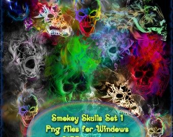 Smokey Skulls Set 1 PNG Files. Instant download