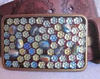 Belt buckle embellished belt buckle Pressed czech glass flowers aqua / turquoise glass beaded belt buckle OOAK cowgirl bohemian  belt buckle