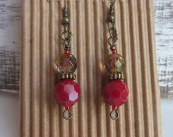 bohemian earrings Red and green faceted czech glass earrings antiqued brass Moroccan earrings boho jewelry dangle  drop earrings