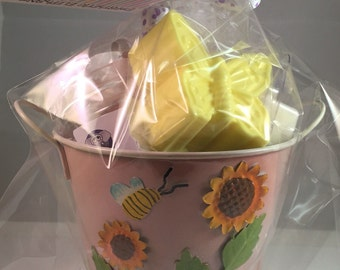Spring Gift Basket - Candle Gift Basket - Soap Gift Basket - Spring Planter Gift Basket