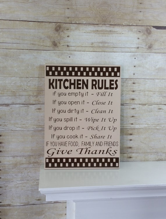 Kitchen Sign Kitchen Rules Gift For Mom Mothers Day Gift