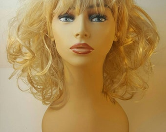 Princess, Pageant, Mid-Length Curly Blonde Wig, Curly Blonde Wig with Bangs, available in Auburn also
