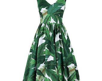 Summer dress, Deep V neck dress, Banana leaf dress, Full skirted dress, Mother daughter matching dress, Palm print dress, Vintage dress MS04