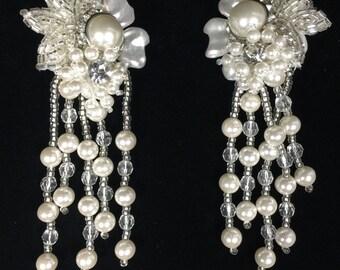 Wedding Costume Cascading Pearl Earrings