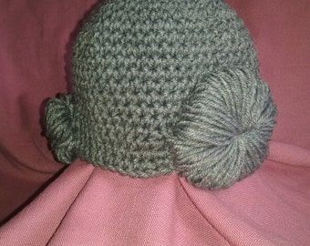 Old Lady Hat / Wig, with Bun, Gray, Any Size Newborn to Adult Available, Boy or Girl Costume, Fast Shipping!!!! No Waiting List!!!