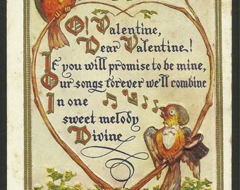 Vintage Embossed Valentine Postcard of Love Birds Singing a Valentine Wish to Each Other  (1625)