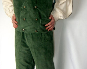 Gentleman's Halfling outfit, includes shirt, vest and pants, custom made in green corduroy and cotton muslin