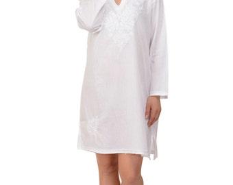 Aurelia Kaftan/Caftan Beach Dress in White with Hand Embroidery