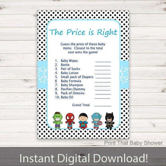 price is right baby shower game superhero baby shower games baby