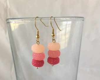 Beaded Pink Ombre Dangle and Drop Earrings