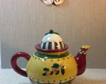 One Cup Teapot Sakura Debbie Mumm Handpainted Holly Adorned Tea Lover Teapot Collector